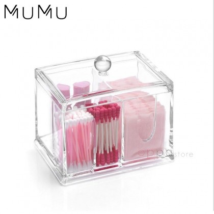 MUMU Style Cotton Swab Pads Buds Cosmetics Tool Organizer Storage Holder Box