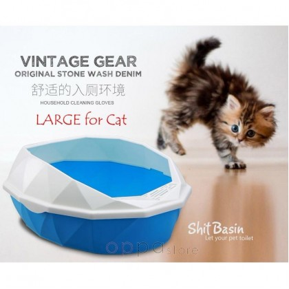 Diamond Shape Pets Cat Kitten Toilet Training Tray LARGE Size With A Scoop