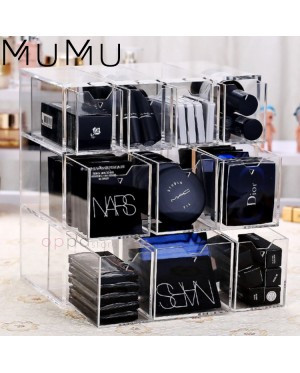 MUMU Style Acrylic Drawer Cosmetic Holder BB Cushion Powder Compact Lipstick Blusher Foundation Storage Makeup Organizer